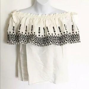 Parker Casandra Linen-Blend Top Small White